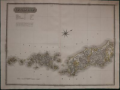1823 LARGE DATED MAP WESTERN ISLES NORTH JOHN THOMSON ATLAS of SCOTLAND LINGAY