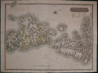 1822 LARGE DATED MAP WESTERN ISLES MIDDLE JOHN THOMSON ATLAS of SCOTLAND SCARP