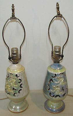 Pair-1950' Lusterware Art Deco Bedroom Lamps