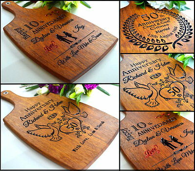 Personalised Anniversary Wedding Gift Wood Wooden 25th 30 40 50th Cutting Board