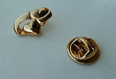 Two Connected Hearts Lapel Hat Pin