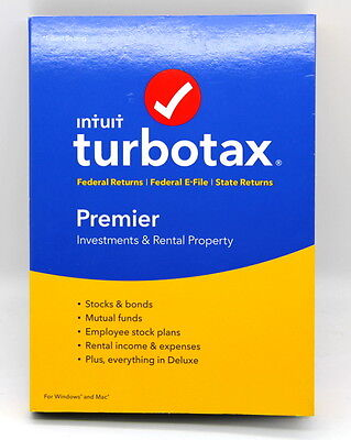 Intuit TurboTax Premier 2016 Fed + State + Efile Tax Software Win/Mac. ( NEW ).