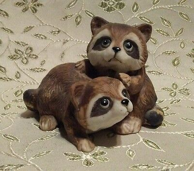 Vintage Homco Home Interior Porcelain Racoons Figurine #1454