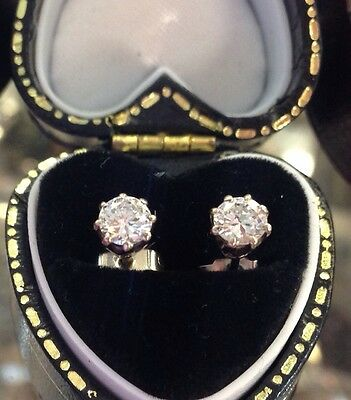 18Carat White Gold Half Carat Solitaire Diamond Stud Earrings 0.50cts
