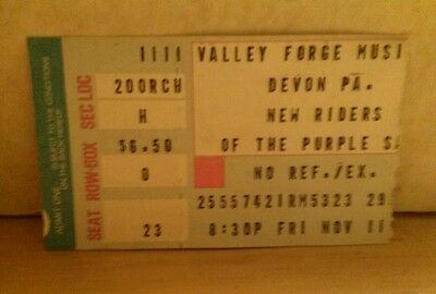 Rare Concert Ticket Stub NEW RIDERS OF THE PURPLE SAGE 11/11/77 Valley Forge PA