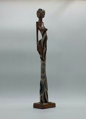 Vintage African Naked Woman Wooden Figurine - 38 cm Tall