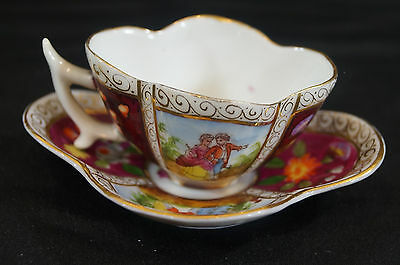 Dresden Hand Painted Quarterfoil Courting Couple Cup & Saucer Circa 1900 - 1910