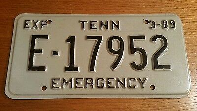 Vintage Tennessee License Plate Emergency E-17952 March 1989