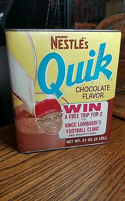 1969 VINCE LOMBARDI Nestle QUIK Full Chocolate Can GREEN BAY PACKERS  RARE!!