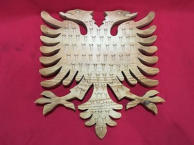 Albania Wooden Eagle Hand Carved 2 Headed Symbol Kosovo