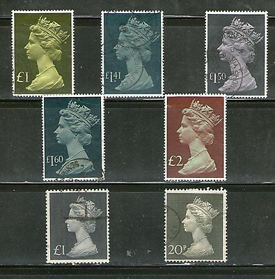 Great Britain :7 Diff. Large High Denom. On Queen Elizabeth-Ii-1969, Rare, Fu