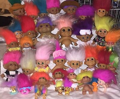 Vintage Troll Doll Lot of 36 Russ Dam Ace Novelty T.N.T. Most with Clothes Great