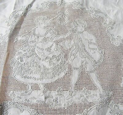 Fine Embroidery Courting Couple Pierced Appenzell Lace 42 by 23 Trousseau