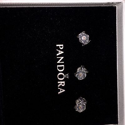 PANDORA Sterling Silver RETIRED Flowers X 3 - pink Tourmaline Stones
