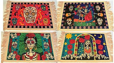 """PLACEMATS (Set of 4) Day of the Dead CALAVERA 100% Heavy Cotton Stencil 13""""x19"""""""