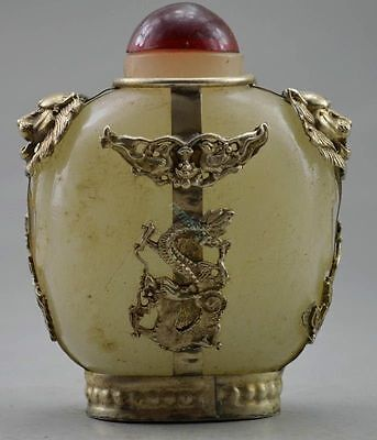 Collectible Decorated Old Handwork Jade & Tibet Silver Dragon Snuff Bottle GG147