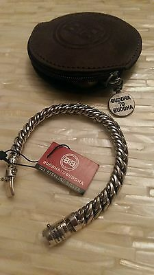 BUDDHA TO BUDDHA mens 925 sterling silver  bracelet with leather case. Unworn