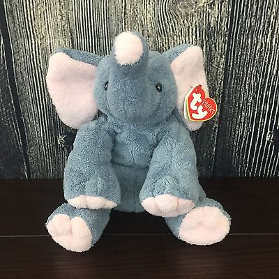 Ty Pluffies Winks The Elephant Grey Pink Ears Plush Soft Toy Stuffed Animal 2002