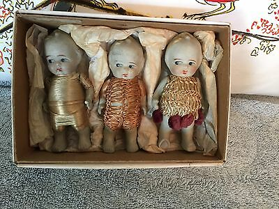 Three Stone Bisque Dolls In Box In Original Outfits