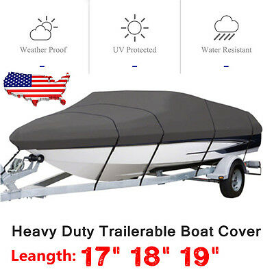 17 18 19 Ft Waterproof Trailerable Heavy Duty Fabric Boat Cover V-hull 95'' Beam