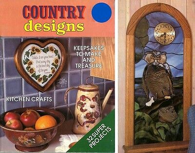 Craft Book - Country Designs - 32 Projects - Stained Glass Owl Clock