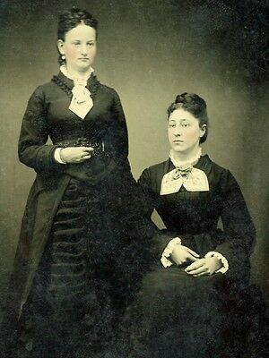 Sixth Plate Tintype Two Proper Ladies Likely Sisters From Illinois Album