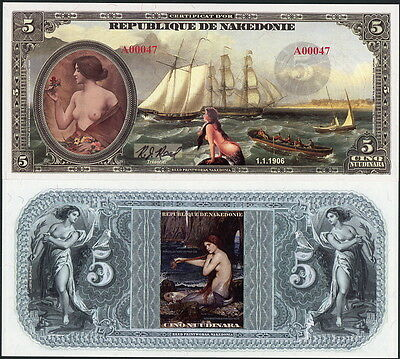 Women, Mermaids, Old Ships Featured On Republique De Nakedonie Fantasy Art Note!