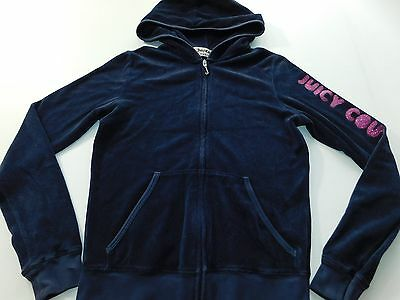 Juicy Couture Womens Hoodie Size Small S Velour Full Zip Sweat Shirt Sweater