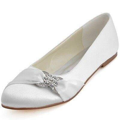 E2006 Comfort Closed Toe Flat Heel Ballet Rhinestones Satin Wedding Bridal Shoes