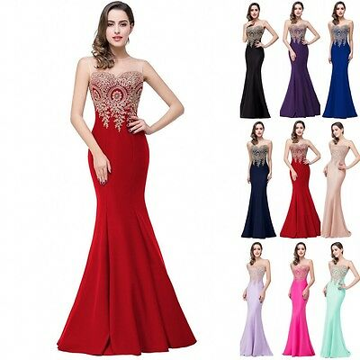 Long Evening Formal Party Dress Prom Ball Gown Bridesmaid Mermaid Applique Sheer