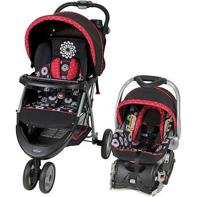 Baby Stroller Travel System Infant Car Seat Red Floral Safety Newborn Gear New