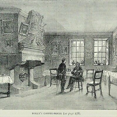 'Dolly's Coffee House' - Original 19thC Antique Wood Engraving