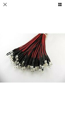 10x RED LED 12VDC 5mm LEDs Pre-Wired Lamp Light 20CM - Free Delivery