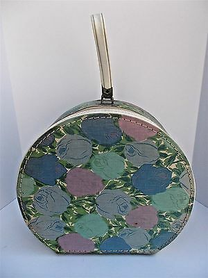 Vintage Floral Pattern Round Hat Train Case Carry On Luggage Suitcase Pastels
