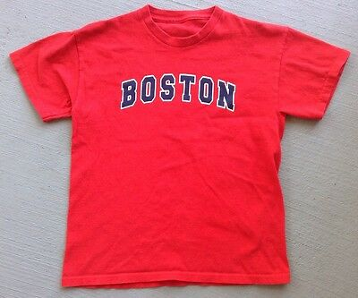 Kids Youth Red & Navy Blue Boston Short Sleeve Tee Shirt!