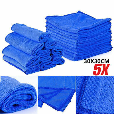 5pcs 11.8'' Microfibre Cleaner Car Detailing Washing Cleaning Soft Cloths Towel