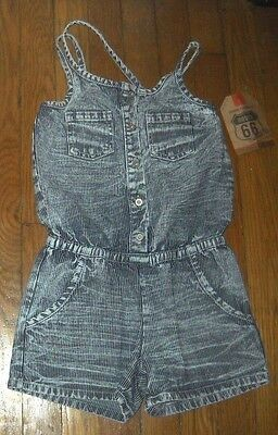 NWT Route 66 Button denim jean Romper Railroad Striped medium 7 / 8 SHORTS girls