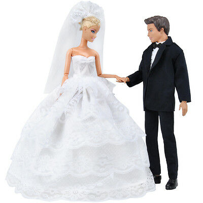 E-TING UK Shipping Wedding Gown Dress Clothes+Formal Suit For Barbie Ken Doll