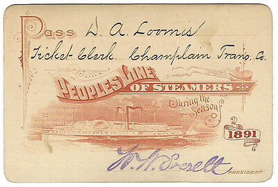 Pass - Peoples Line Steamers 1891 Annual Pass - Nice Vignette