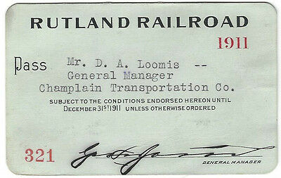 Pass - Rutland Railroad 1911 Annual Pass