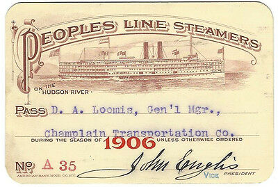 Pass - Peoples Line Steamers 1906 Annual Pass - Nice Vignette