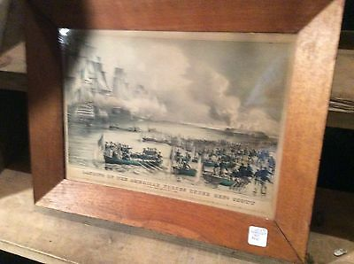 """Mexican War, Antique Currier Ives Lithograph Original Print Hand Colored """""""