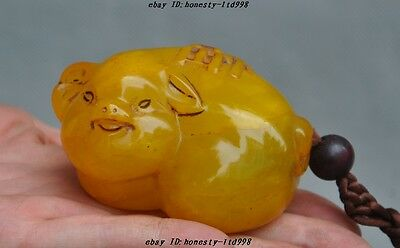 """Old Chinese Tianhuang Shoushan Stone pure Hand-Carved""""福""""Pig Statue lucky Pendant"""