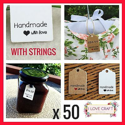 50 hang tag price ticket string tie label hand made with love cardboard clothing