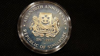 Silver Proof 1977 Singapore $10 10th Anniv of Asean Ministerial Meeting   (BB8)