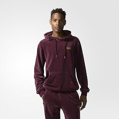 Adidas Originals Velour Hoodie Maroon Sizes S to XL AY9228 Pullover Gold Logo