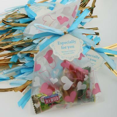 50 x Metallic Twist Ties Satin Bow Paper Label Tags for Cello Candy Bags