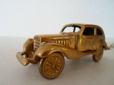 Old Collectible Brass Toy Car Automobile Desk Ornament Heavier cast our # 3596