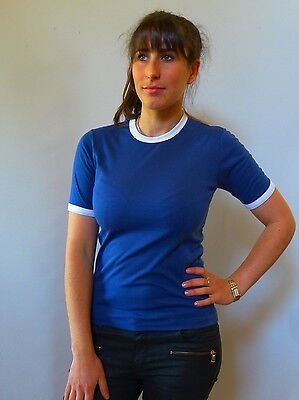 Vintage retro true 60s unused 8 XS blue  t shirt top Sunlife Mod