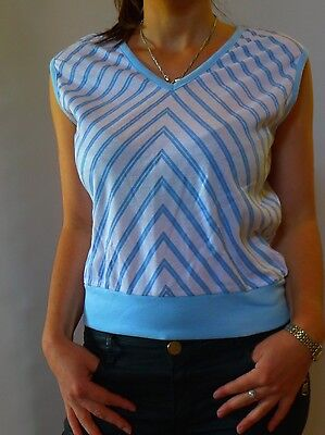 Vintage retro true 70s unused 12 M t shirt top blue white stripes tags